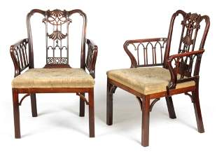 A PAIR OF EARLY 19TH CENTURY CARVED MAHOGANY