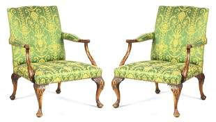 A PAIR OF LATE 19TH CENTURY MAHOGANY CHIPPENDALE STYLE