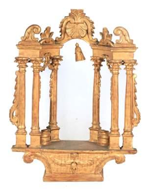 AN 18TH CENTURY ITALIAN CARVED GILT WOOD ALTARPIECE or