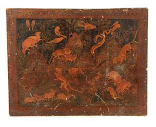AN 18TH CENTURY PERSIAN LACQUER WORK PANEL depicting