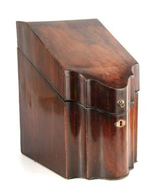 A GEORGE III MAHOGANY KNIFE BOX with shaped front and