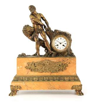 A 19TH CENTURY FRENCH GILT BRONZE AND SIENNA MARBLE