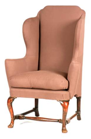 A QUEEN ANNE WALNUT WING-BACK UPHOLSTERED ARMCHAIR