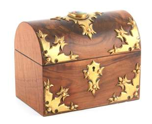 A VICTORIAN FIGURED WALNUT DOME TOPPED DECANTER BOX