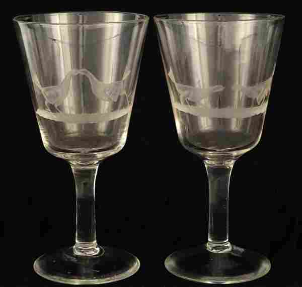 A PAIR OF LARGE 19TH CENTURY ETCHED WINE GLASSES d