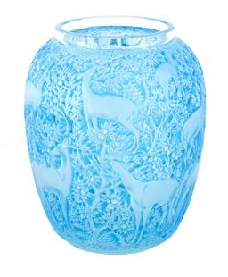 R LALIQUE, A BLUE STAINED ÔBICHES' GLASS VASE of o