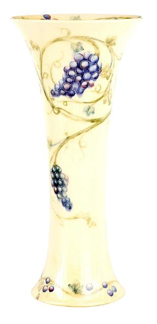 AN EARLY WILLIAM MOORCROFT TALL TAPERING CYLINDRIC