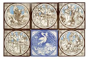 A SET OF 5 19TH CENTURY MINTON TILES decorated wit