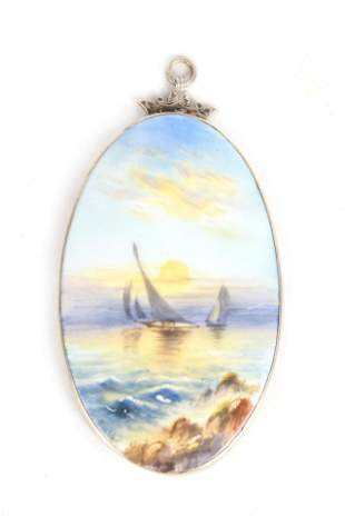 A SILVER FRAMED OVAL ROYAL WORCESTER PAINTED PORCE