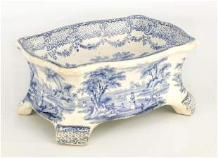 A RARE 19TH CENTURY RIDGWAY BLUE AND WHITE POTTERY