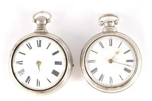 TWO 19TH CENTURY SILVER PAIR CASED VERGE POCKET WA