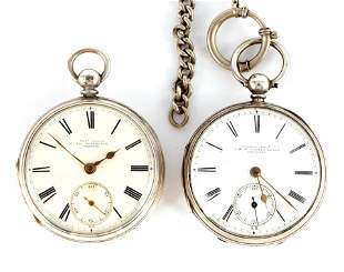 TWO ENGLISH SILVER CASED FUSEE POCKET WATCHES both