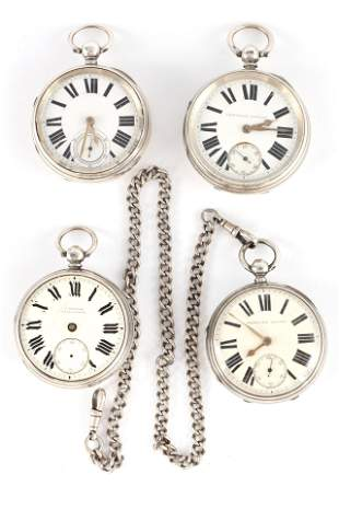 A COLLECTION OF FOUR SILVER CASED ENGLISH FUSEE PO