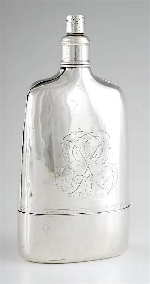 A RARE GEORGE II SILVER HIP FLASK of unusual shape