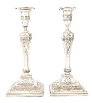 A PAIR OF 19TH CENTURY SHEFFIELD PLATE SILVER ON C