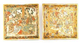 A PAIR OF MEIJI PERIOD SATSUMA JAPANESE HANGING WA