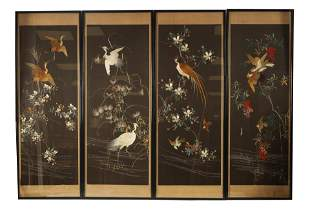 A SET OF FOUR EARLY 20TH CENTURY CHINESE SILK PANE