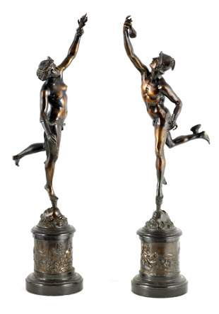 A LARGE PAIR OF 19TH CENTURY BRONZE FIGURES DEPICT