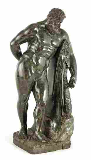 A 19TH CENTURY CARVED GREEN MARBLE GRAND TOUR SCUL