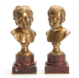 A PAIR OF LATE 19TH CENTURY FRENCH GILT BRONZE BUS