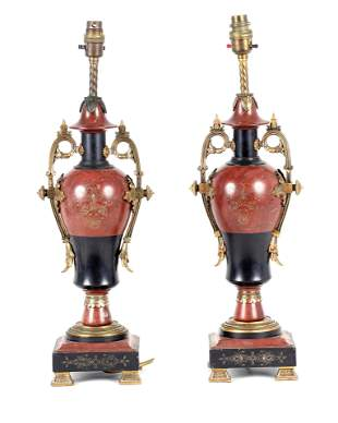 A PAIR OF LATE 19TH CENTURY FRENCH URN SHAPED ORMO