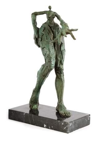 A MODERN BRONZE DALIESQUE FIGURE depicting a surre