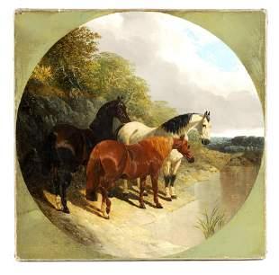 JOHN FREDERICK HERRING SNR. 1795-1865 TONDO OIL ON