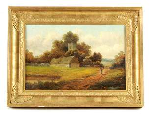 A 19TH CENTURY OIL ON CANVAS depicting a country c