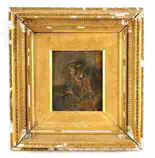 A 19TH CENTURY OIL ON BOARD Abstract portrait of a