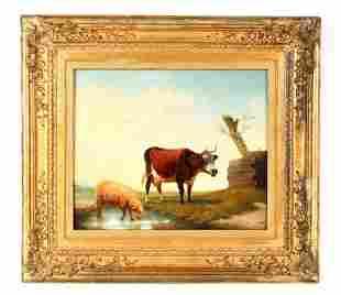 LOUIS ROBBE (1806-1887) A 19TH CENTURY OIL ON OAK