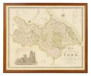 A 19TH CENTURY COLOURED ILLUSTRATED MAP OF NORTH Y