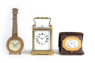 A COLLECTION OF THREE EARLY 20TH CENTURY CLOCKS to