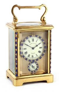 AN EARLY 20TH CENTURY FRENCH TIMEPIECE ALARM CARRI