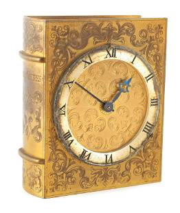 A MID 20TH CENTURY NOVELTY GILT BRASS MANTEL CLOCK