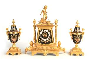 A LATE 19th CENTURY FRENCH EGYPTIAN STYLE ORMOLU A