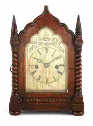A SMALL MID 19TH CENTURY OAK CASED DOUBLE FUSEE MA