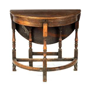 A WILLIAM AND MARY WALNUT D END SIDE TABLE with dr