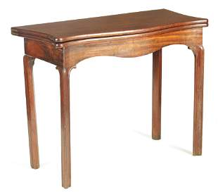 A GEORGE III MAHOGANY CHIPPENDALE STYLE SERPENTINE