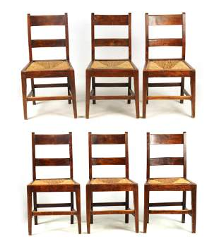 A SET OF SIX 19TH CENTURY COUNTRY FRUITWOOD DINING