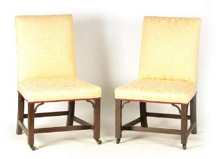 A PAIR OF GEORGE III MAHOGANY CHIPPENDALE STYLE UP