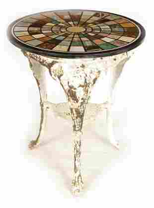 A 19TH CENTURY CAST IRON 'BRITTANIA' TABLE BASE WI