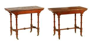 A PAIR OF LATE 19TH CENTURY OAK AND WALNUT CARD TA
