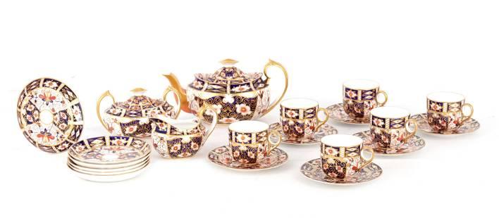A LATE 19TH CENTURY IMARI PATTERN ROYAL CROWN DERBY TEA