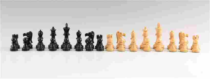 A TOURNAMENT SIZE STAUNTON TYPE WEIGHTED CHESS SET the