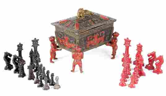 A LATE 19TH CENTURY ENGLISH PAINTED LEAD CHESS SET IN