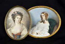 Lot: two miniature portraits ' ladies' one signed