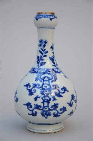 Garlic head vase in Chinese blue and white porcelain