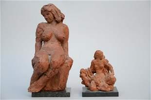 Jos De Decker: two statues in terra cotta 'lady' and