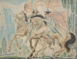 Van Ballenberghe: large painting (o/c) 'knights on