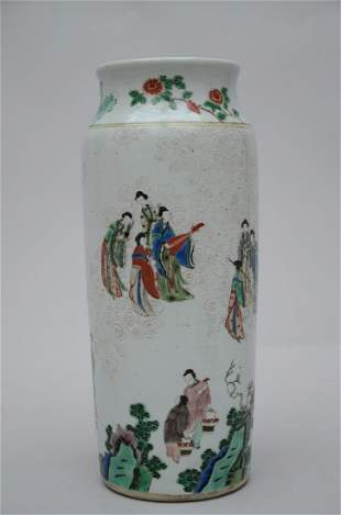 A rouleau vase in Chinese famille verte porcelain
